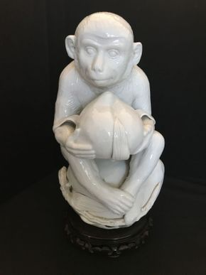 Lot 025 Oriental-Inspired White Monkey Pottery 13in