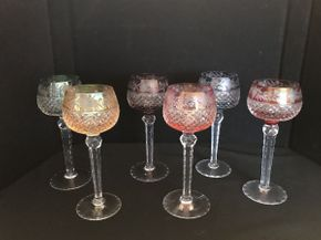 Lot 029 Lot of 6 Austrian Cut Colored Goblets 9in