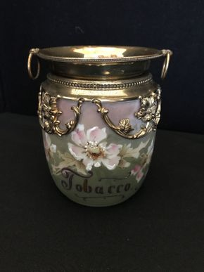 Lot 030 Antique Tobacco Jar with Gold Top 5.5in