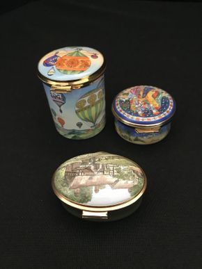 Lot 033 Lot of 3 Staffordshire Enamel Trinket Boxes