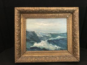 Lot 038 Framed Painting by David O\'Neill Rough Seas 14x12