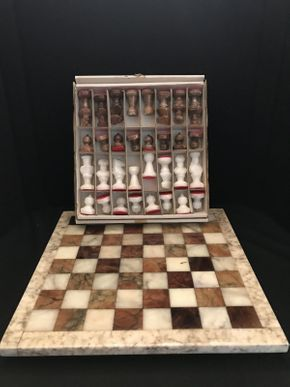 Lot 052 Alabaster Chess Set from Italy 14.5x14.5