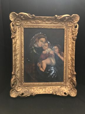 Lot 053 Framed Blessed Mother Oil Some Damage 15.5x18.5