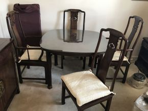 Lot 057 Henredon Dining Table 42x42 and 2 Arm Chairs Cane Seats 22x19x44 and 2 Side Chairs Cane Seats 20x18x43 with 2 Leaves 19x42 and Glass Cane has some damage