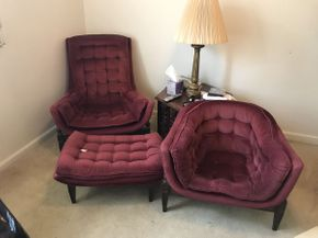 Lot 060 Lot of 3 Mid Century Plush Velvet Chairs with Ottoman Large Chair 34x28.5x35 Small 32x25.5x24 Ottoman 29x19.5x14