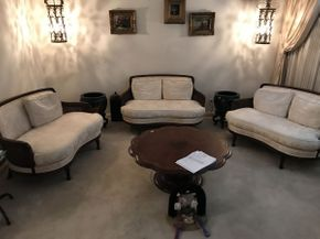 Lot 077 Lot of 3 Vintage Love Seat with Cane Sides 48.5x29x29