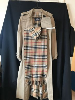 Lot 078 Burberry Trench Coat with Burberry Scarf and Hat Ladies Size Small