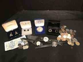 Lot 013 Lot of Mens Jewelry and Coins