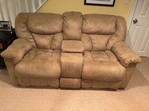 Lot 057 Lot of Two Reclining Loveseat With Console PICK UP IN DIX HILLS