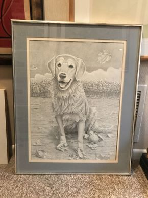 Lot 030 Pencil Drawing of Dog 24x30.5