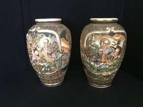 Lot 003 Pair of Japanese Satsuma Vases ITEMS TO BE PICKED UP OCEANSIDE