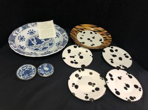 Lot 054 Assorted Lot of Decorative Noble Dalmatian / Tiger Plates 7.75 Inches, Metropolitan Museum Plate 14.5 Inches, Noble Tiger Stripe Plate 12 Inches. Ginger Covers 4 Inches. PICK UP IN FLUSHING.