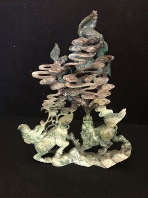 Lot 011 Chinese Inspired Jadite AS IS 10in ITEMS TO BE PICKED UP IN OCEANSIDE