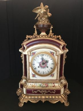 Lot 012 Italian and Porcelain Mantle Clock Some Repair on Top 22x13.5 ITEMS TO BE PICKED UP OCEANSIDE