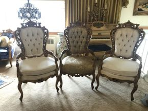 Lot 014 Lot of 3 Gold Painted Vintage Arm Chairs 26x48x23 ITEMS TO BE PICKED UP OCEANSIDE