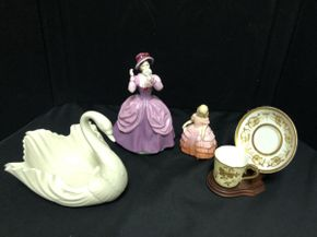 Lot 074 Lot of Assorted Royal Dalton Figurines, Lenox Swan