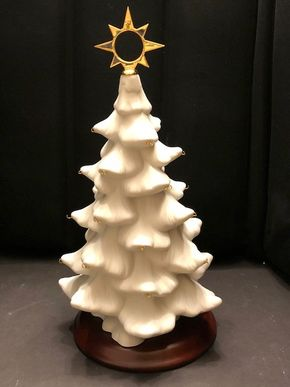 Lot 019 Porcelain Christmas Tree with Star and Wood Base no ornaments