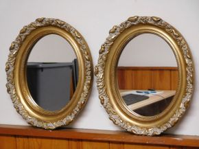 Lot 007 Pair of Antique Style Gold Mirrors 11wx13h ITEMS CAN BE PICKED UP IN GARDEN CITY