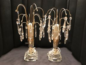 Lot 002 Lot of 2 Vintage Lamps With Crystals