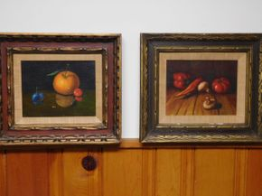 Lot 008 Pair of Original Oil Paintings, Fruit and Vegetable Still Life EACH 16wx14h ITEMS CAN BE PICKED UP IN GARDEN CITY