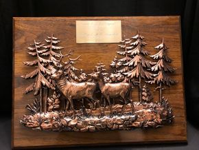 Lot 001 Plaque with Deer and Trees