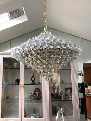 Lot 125 Mid Century Large Modern Crystal Chandelier Round Crystals 42inhx32w Please Call For Appointment  ITEMS TO BE PICKED UP IN MANHASSET HILLS