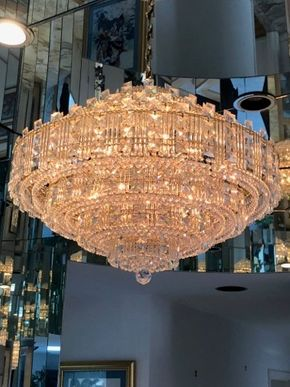 Lot 126 Mid Century Large Modern Crystal Square Shaped Chandelier 32inw Call For Appointment  ITEMS TO BE PICKED UP IN MANHASSET HILLS