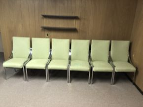 Lot 045 Lot of 6 Upholstered Chrome Chairs  ITEM CAN BE PICKED UP IN JERICHO