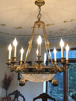 Lot 001 Ornate Brass 8 Arm With Glass Dome Chandelier 28x37in Hanging From Ceiling