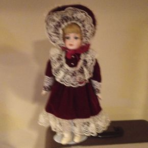 Lot 004 Porcelain Doll With Stand, Blue Eyes, Blonde, Burgundy Velvet Outfit, 16in, 25 Years Old, Excellent Condition