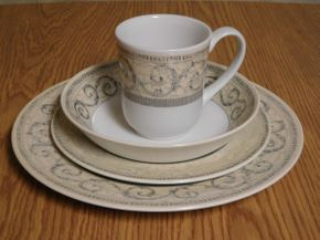 Lot 011 Johnson Bros Acantus Pattern Dinnerware Set (12 Dinner Plates, 12 Bowls, 12 Luncheon Plates, 6 Mugs) ITEMS CAN BE PICKED UP IN GARDEN CITY