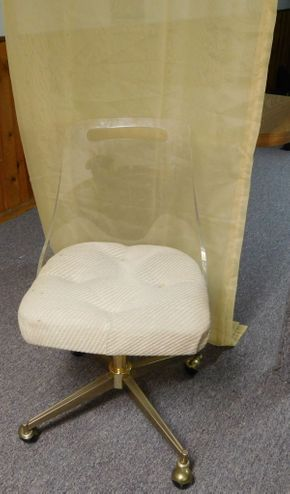 Lot 014 Custom Lucite Back Rolling Chair 18x17x32 ITEMS CAN BE PICKED UP IN GARDEN CITY