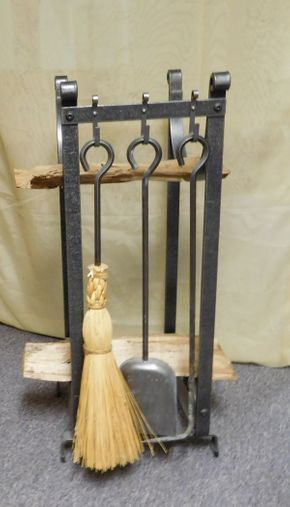 Lot 012 LL Bean Firewood Stand with Fireplace Tools ITEMS CAN BE PICKED UP IN GARDEN CITY