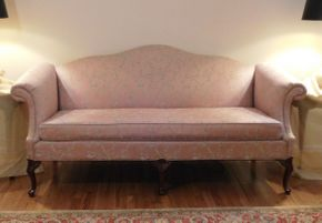 Lot 019 Camelback Lane Sofa with Carved Queen Anne Style Legs 79x26x36 ITEMS CAN BE PICKED UP IN GARDEN CITY