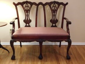 Lot 020 Vintage Georgian Style Settee with Claw and Ball Foot 44x19x40 ITEMS CAN BE PICKED UP IN GARDEN CITY