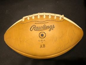 Lot 006 Rawlings Signed Football by Pat Hughes, Linebacker for the Giants and Saints