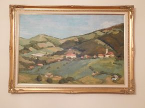 Lot 026 Framed and Signed Oil, European Landscape 42x29 ITEMS CAN BE PICKED UP IN GARDEN CITY