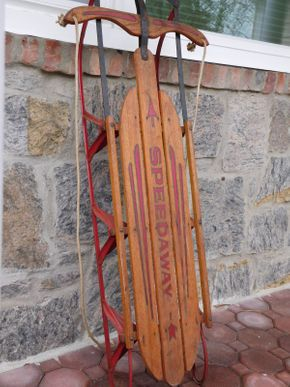 Lot 029 Vintage Speedway Wooden Sled with Metal Runners and Rope Guide ITEMS CAN BE PICKED UP IN GARDEN CITY