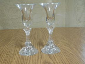 Lot 003 Cut Glass Candle Sticks 6in ITEMS CAN BE PICKED UP IN GARDEN CITY