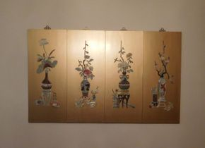 Lot 028 Set of Four Asian Inspired Gold Leaf Panels Decorated with Jade (The Four Seasons) 14x35 ITEMS CAN BE PICKED UP IN GARDEN CITY