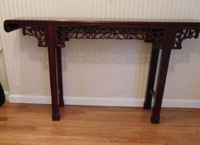 Lot 032 Custom Handmade Carved Rosewood Table 60x12x33 ITEMS CAN BE PICKED UP IN GARDEN CITY