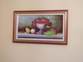 Lot 031 Framed Oil Still Life, Fruit 28x16 1/4 ITEMS CAN BE PICKED UP IN GARDEN CITY