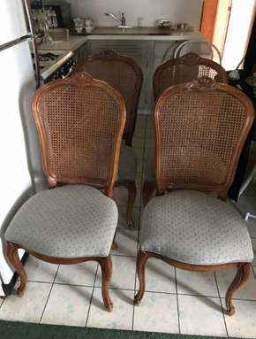 Lot 062 Lot Of Four Century Cane Chairs 40.75 H X 19 W X 73 L.  PICK UP IN FLUSHING.