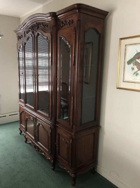 Lot 063 Century China Cabinet With Two Drawers. 86.5 H X 21 W X 73L. PICK UP IN FLUSHING.
