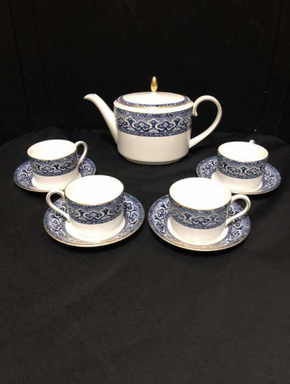 Lot 066 Lot Of Four Ralph Lauren Wedgwood China Tea Cups 2.5 Inches H, Saucers 5.5 Inches. Teapot 6.5 H X 4.75 W X 10.5 L. PICK UP IN FLUSHING.