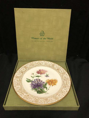 Lot 075 Boehm Flowers Of The World Porcelain Plate 10.75 Inches. PICK UP IN FLUSHING.