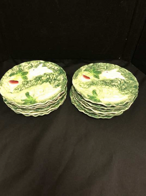 Lot 055 Lot Of 12 Shafford Rabbit Patch Decorative Plates 8 Inches. PICK UP IN FLUSHING.