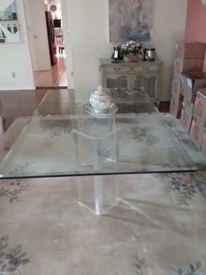 Lot 001 Glass Dining Room Table with Lucite Base 28.5H x 48W x 78.5L PICK UP IN MANHASSET