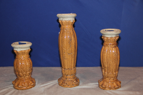 Lot 001 LOT OF 3 Decorative Plaster Candlesticks ITEMS CAN BE PICKED  UP IN WESTBURY