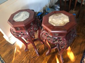 Lot 015 Carved Chinese Plant Stands with marble inserts  25H X 11W PICK UP IN RVC